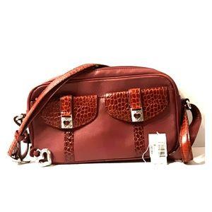 Rare BRIGHTON Red Mira Leather Exotic Crossbody